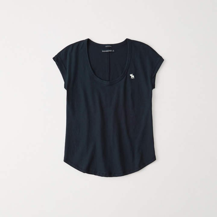 A&F Women's Scoopneck Icon Tee in Navy Blue - Size S