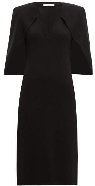 Cape Back Crepe Midi Dress - Womens - Black
