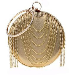 Fashion Bags : Women's Handbags: Shop Women's Handbags KERVINFENDRIYUN Women's Tassel Handbag Rhinestone Evening Clutch Purse Bag (Color : Gold) £44.94