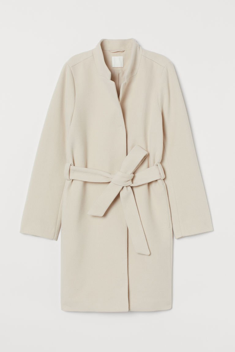 Coat with Tie Belt - Light beige - Ladies | H&M US