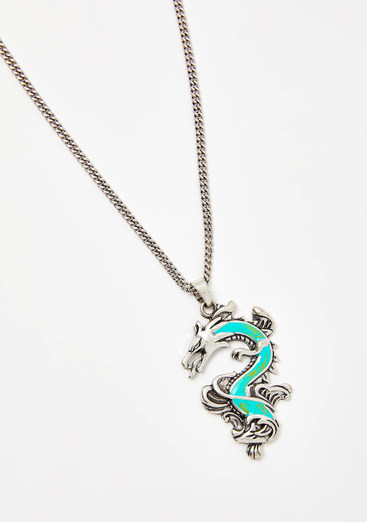 Silver Turquoise Dragon Charm Necklace | Dolls Kill