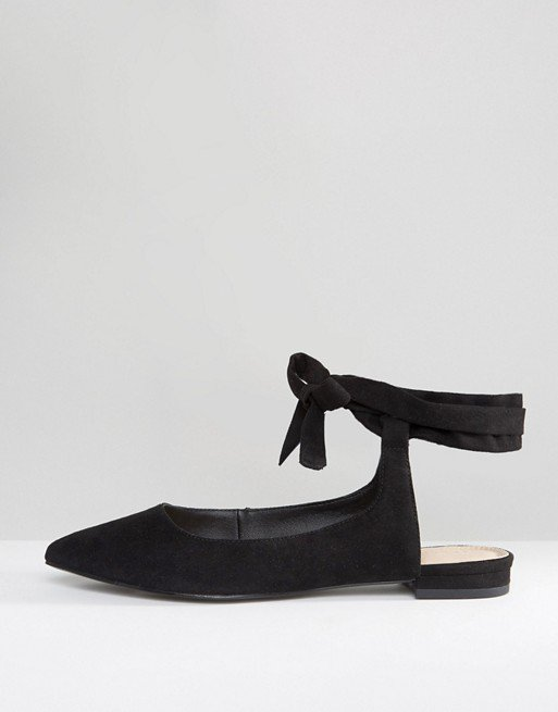 ASOS LINGUINI Lace Up Pointed Ballet Flats | ASOS