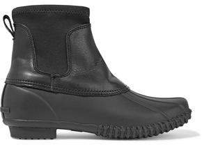 Hartley Shearling-lined Rubber And Leather Rain Boots