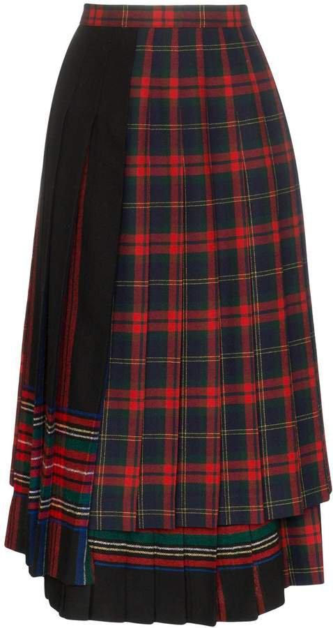 Rentrayage pleated tartan skirt