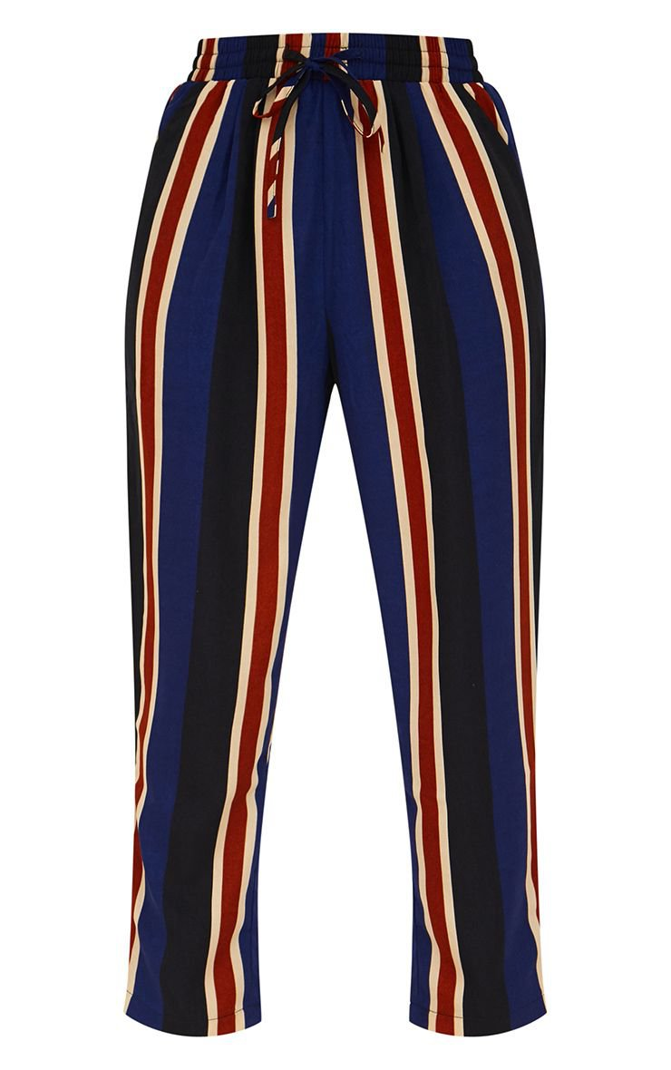 Petite Navy Stripe Casual Pants | Petite | PrettyLittleThing USA