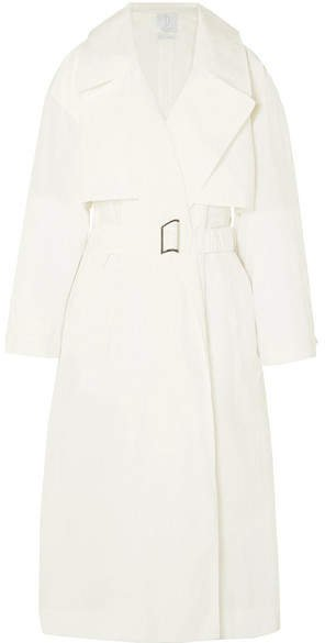 Deveaux - Belted Shell Trench Coat - White