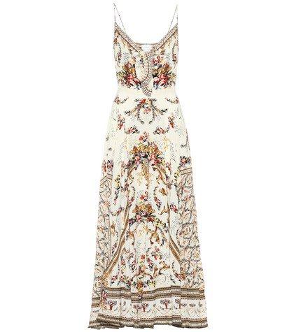 Embellished printed silk dress