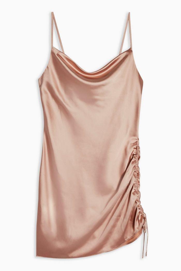 Ruched Mini Slip Dress   Topshop pink
