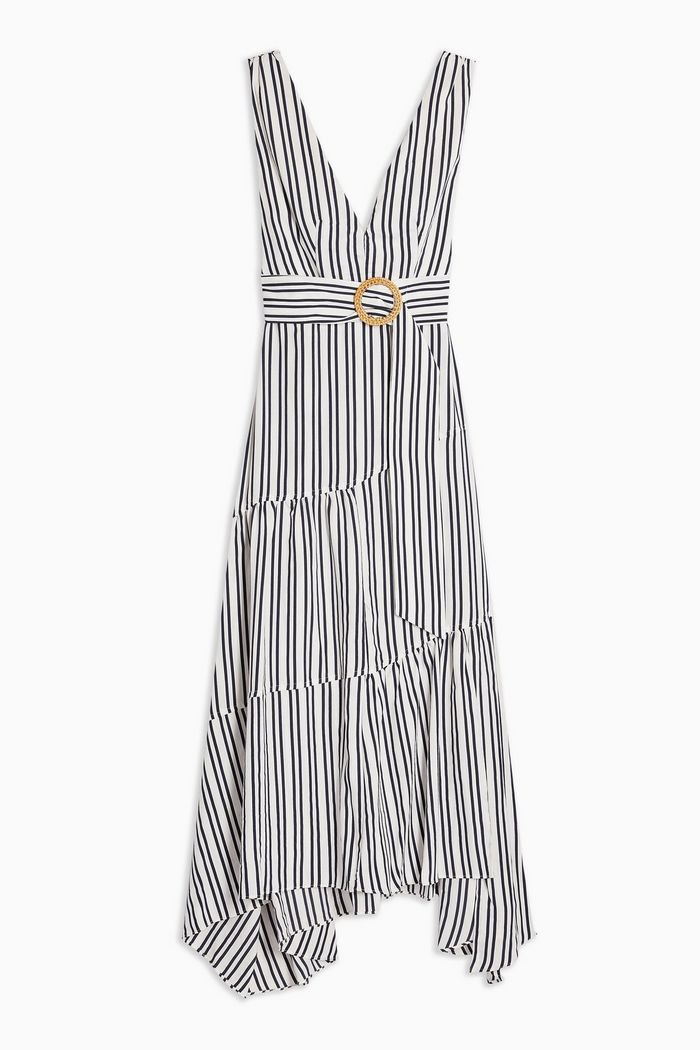 Stripe Belted Maxi Pinafore Dress | Topshop white