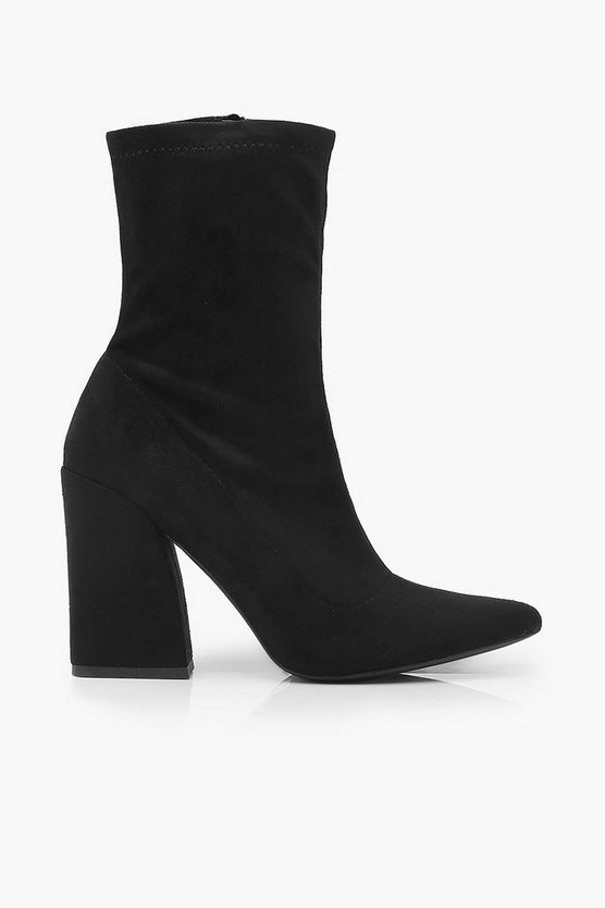 Block Heel Stretch Sock Boots | Boohoo