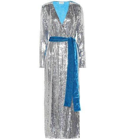 Sequined velvet wrap dress