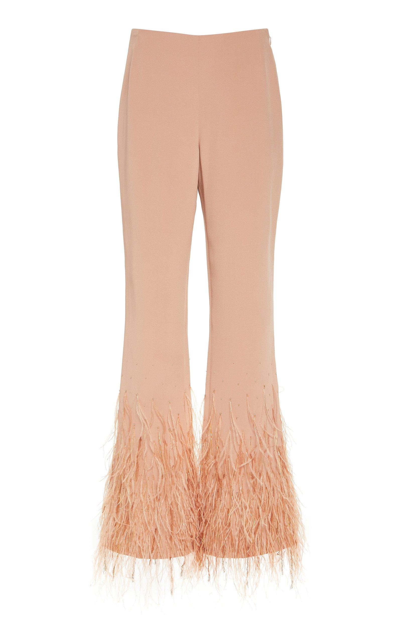SemSem Feather-Embellished Flare-Leg Pants
