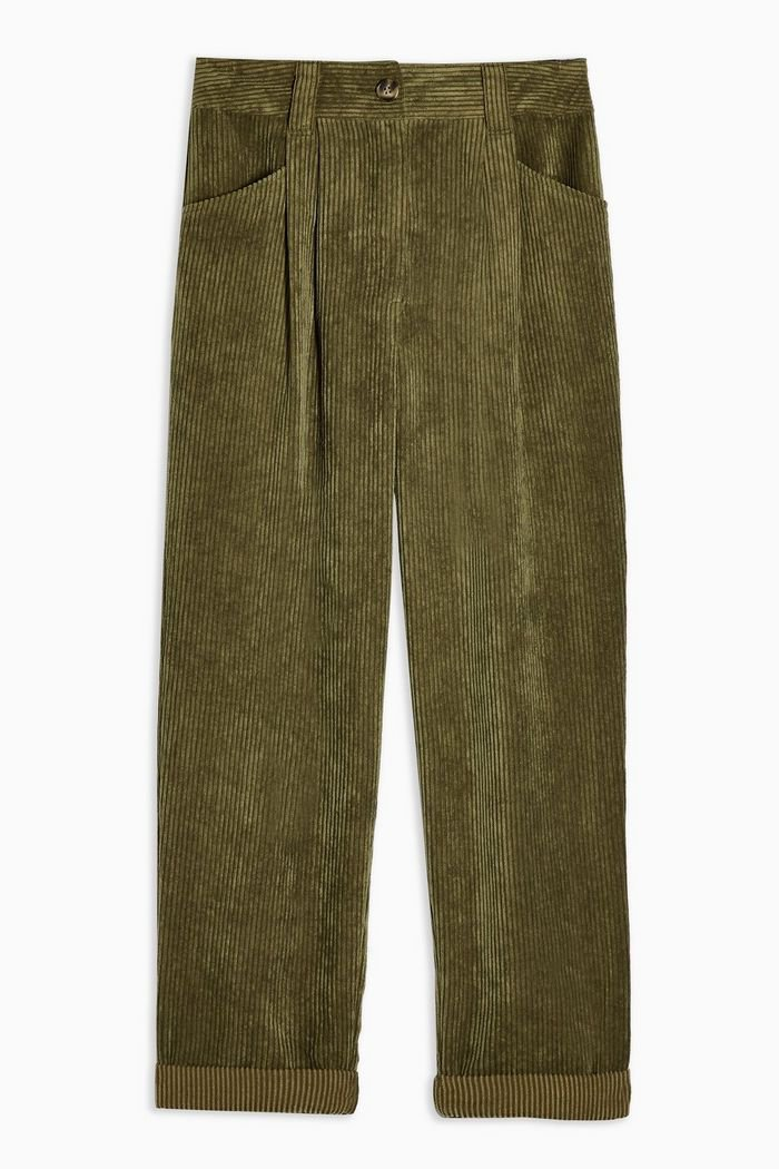 Khaki Casual Corduroy Tapered Trousers | Topshop