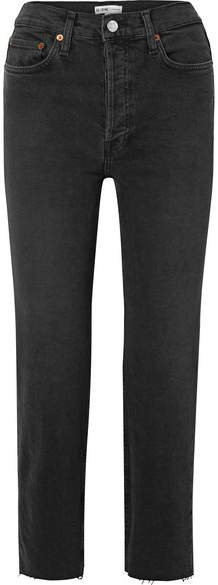 Stovepipe Cropped High-rise Straight-leg Jeans - Black