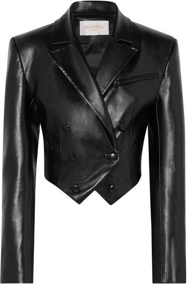 MATÉRIEL | Cropped faux leather blazer | NET-A-PORTER.COM