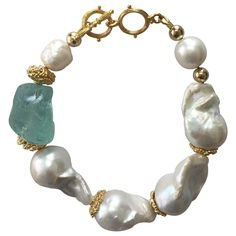 EMMA QUIST Baroque Pearl Gold Necklace with Baroque Clasp