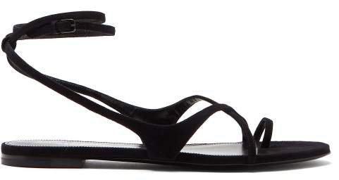 Gia Wrap Around Suede Sandals - Womens - Black