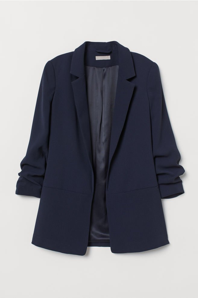 Jacket with Gathered Sleeves - Dark blue - Ladies | H&M US