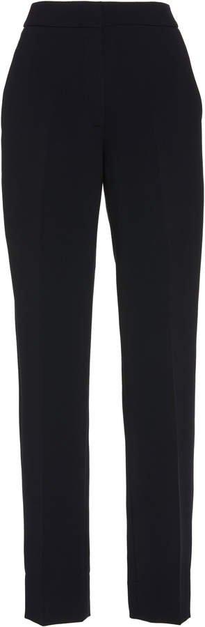 High-Waist Crepe Straight-Leg Pants