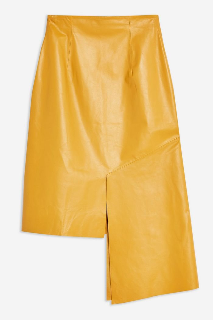**Leather Step Hem Skirt by Boutique   Topshop Yellow