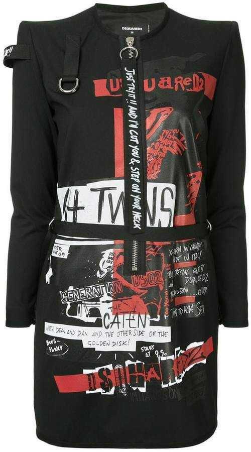 DSQUARED2 grafitti style shirt dress