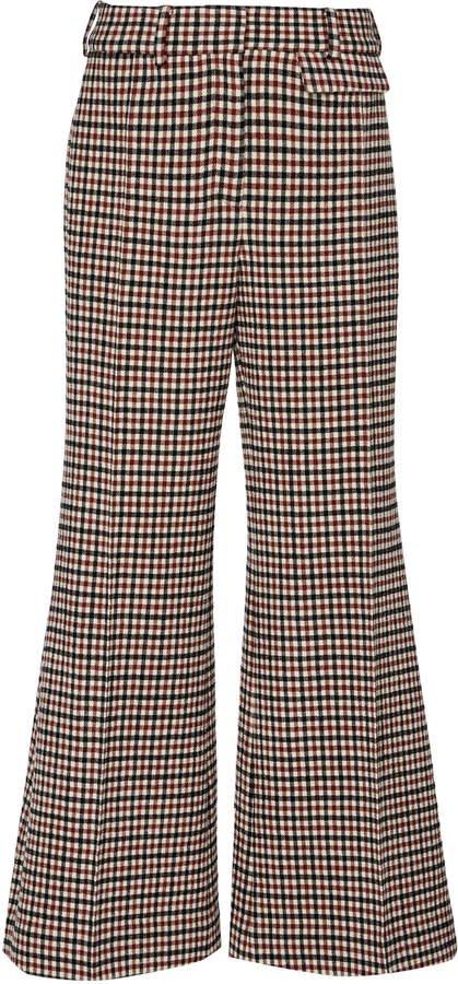 Andreea Check Wool-Blend Wide-Leg Pants