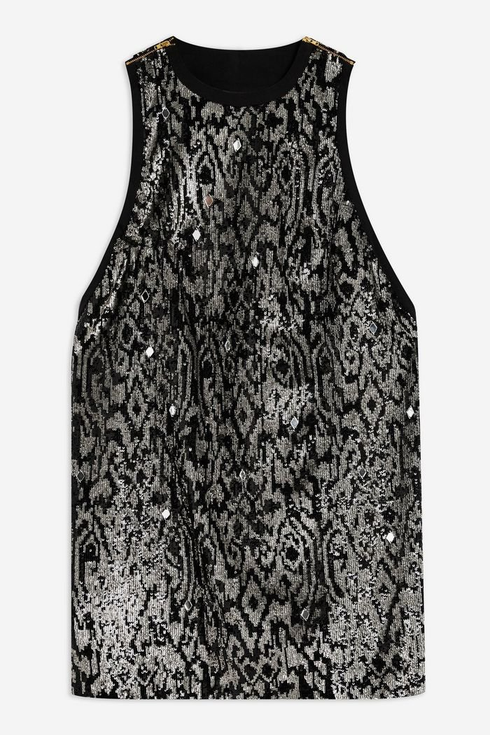 Animal Sequin Mini Dress | Topshop black