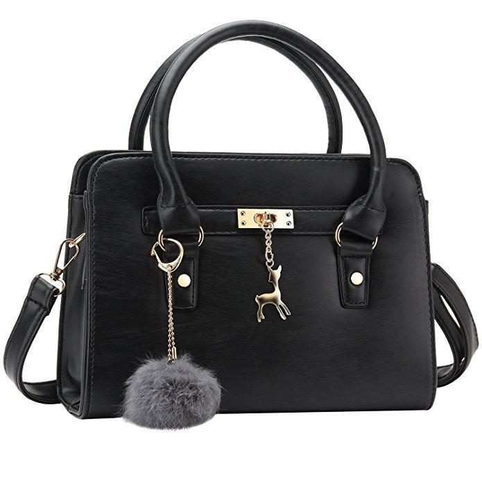 Bagerly Women Fashion PU Leather Shoulder Bags Top-Handle Handbag Tote Bag Purse Crossbody Bag (Black): Handbags: Amazon.com