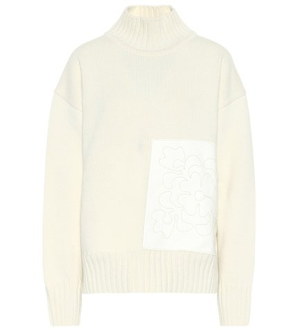 Appliquéd wool turtleneck sweater
