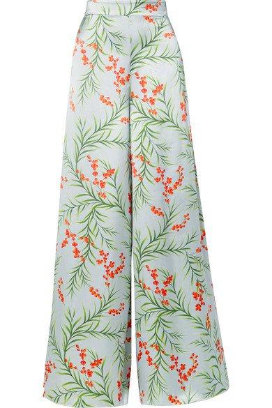 Seren   Joni floral-print silk-satin wide-leg pants   NET-A-PORTER.COM