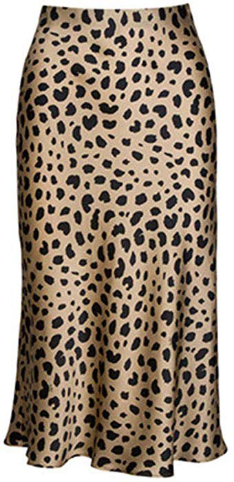 Keasmto Leopard Midi Skirt Plus Size for Women High Waist Silk Satin Skirts Tags XXL at Amazon Women's Clothing store:
