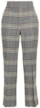 Cropped Checked Wool Bootcut Pants