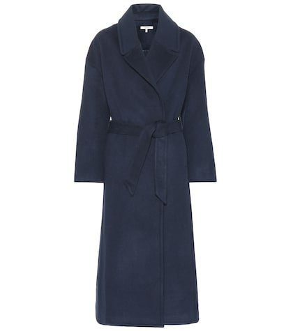 Smooth wool-blend coat