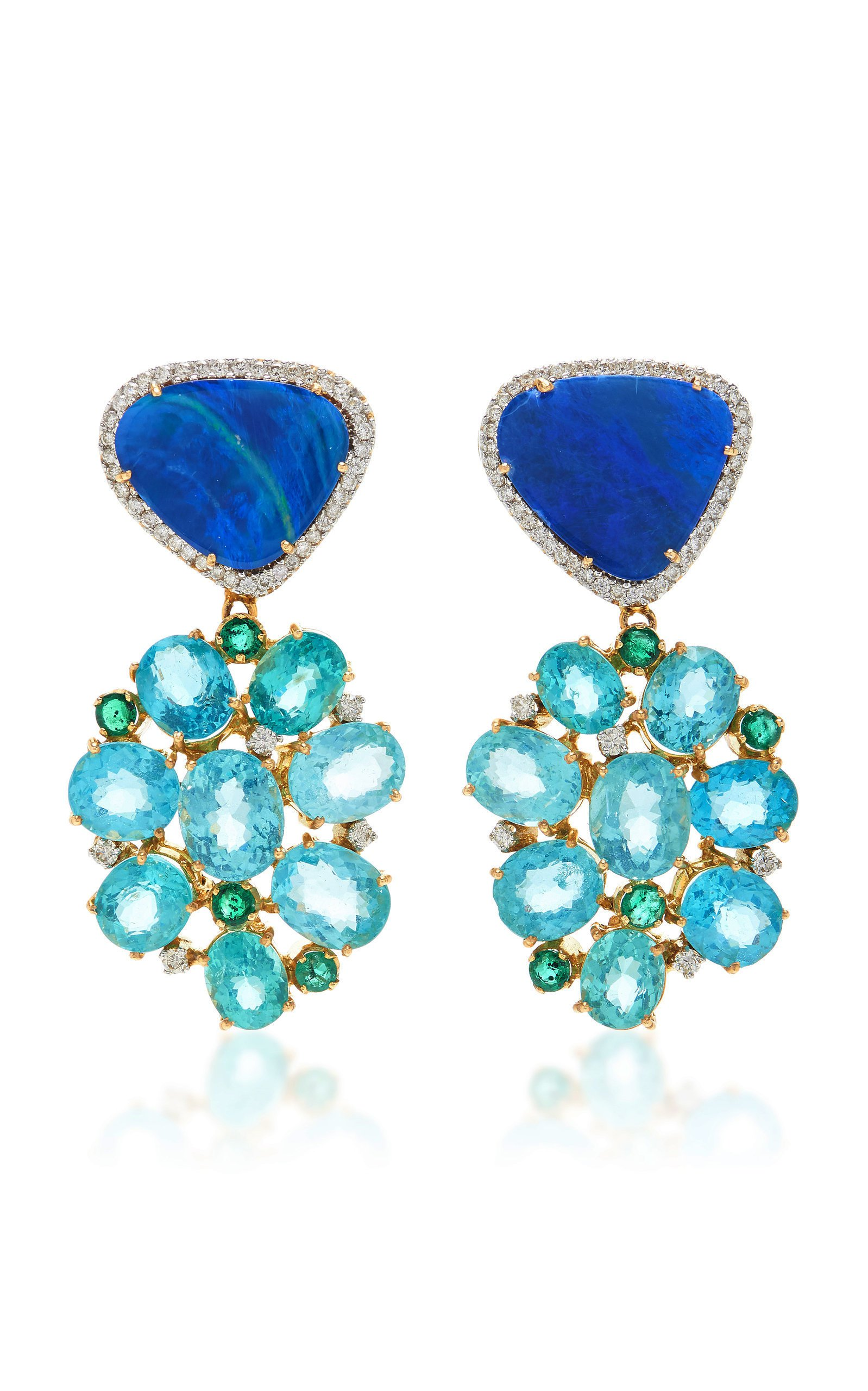 Amrapali Opal Emerald and Diamond Earrings