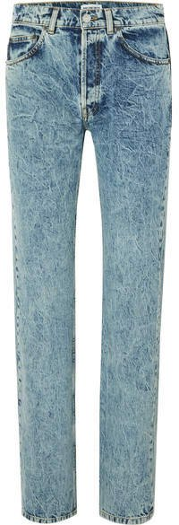 Faded High-rise Straight-leg Jeans - Light blue