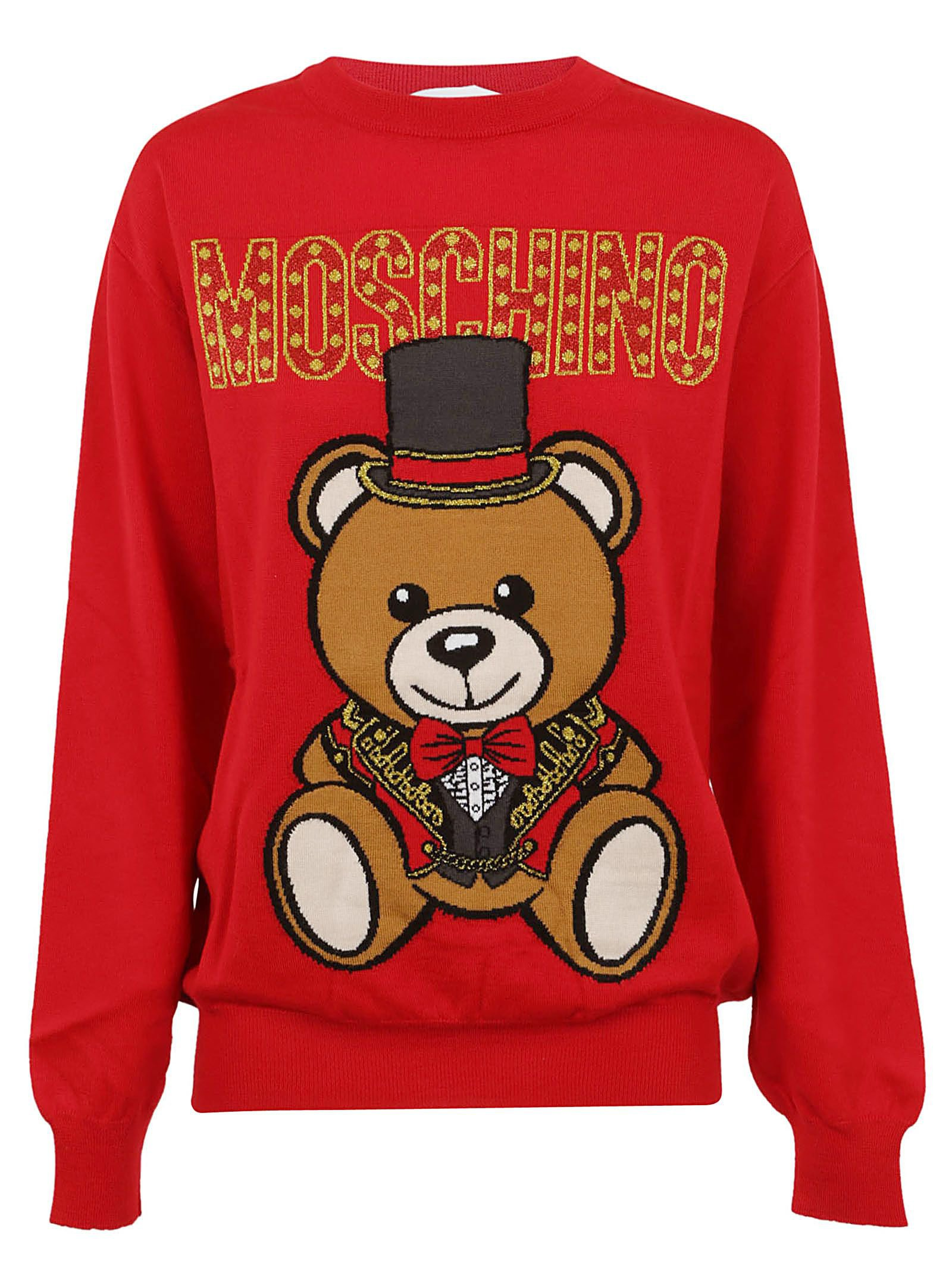 Moschino Bear Logo Print Sweater
