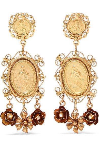 Dolce & Gabbana | Gold-tone faux pearl clip earrings | NET-A-PORTER.COM