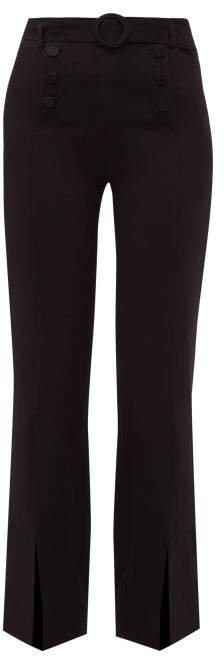 High Rise Belted Crepe Trousers - Womens - Black