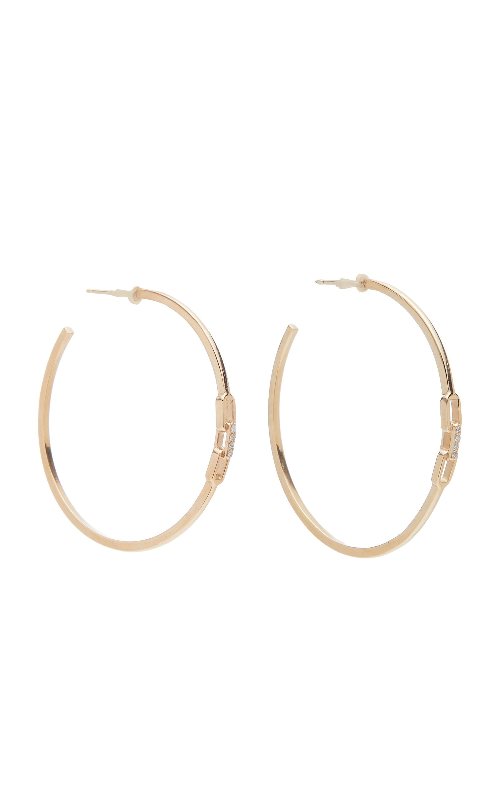 Sophie Ratner 14K Gold Diamond Hoop Earrings