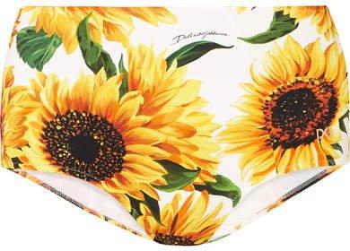 Floral-print Bikini Briefs - White