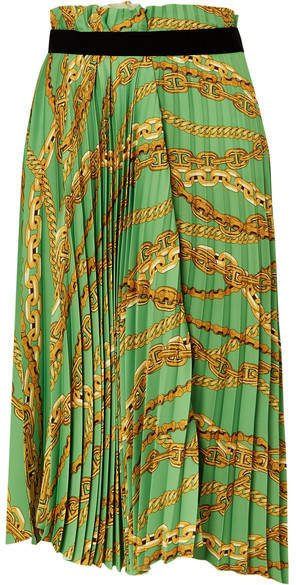 Asymmetric Pleated Printed Crepe Midi Skirt - Green