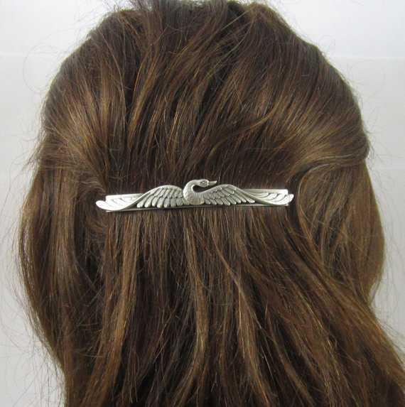 SWAN BARRETTE Silver Barrette slide barrette Swan Hair