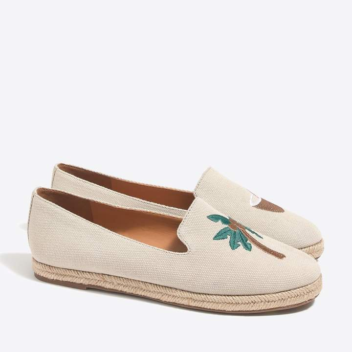Tropical embroidered slip-on espadrilles