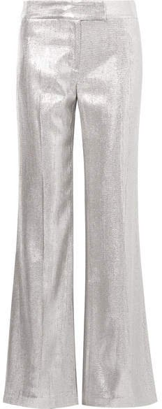 Eden Metallic Woven Wide-leg Pants - Silver