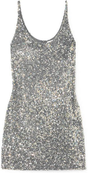 Sequined Georgette Mini Dress - Silver