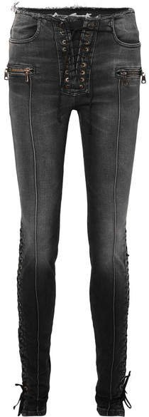 Lace-up High-rise Skinny Jeans - Black
