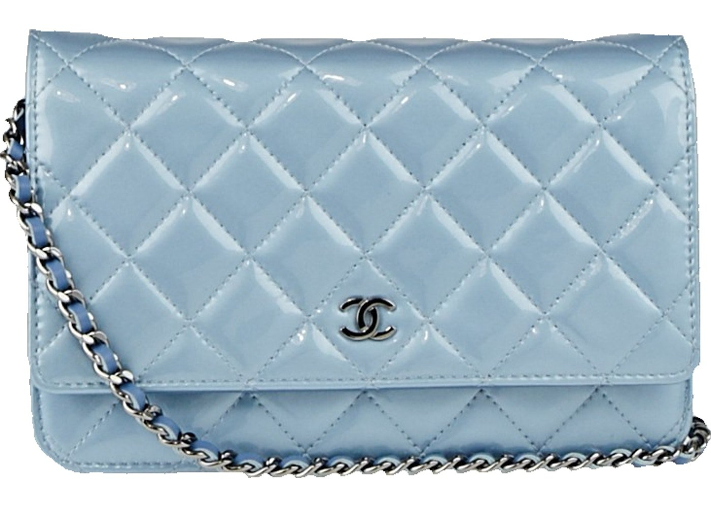 Baby blue chain wallet