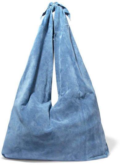 Bindle Suede Shoulder Bag - Light blue