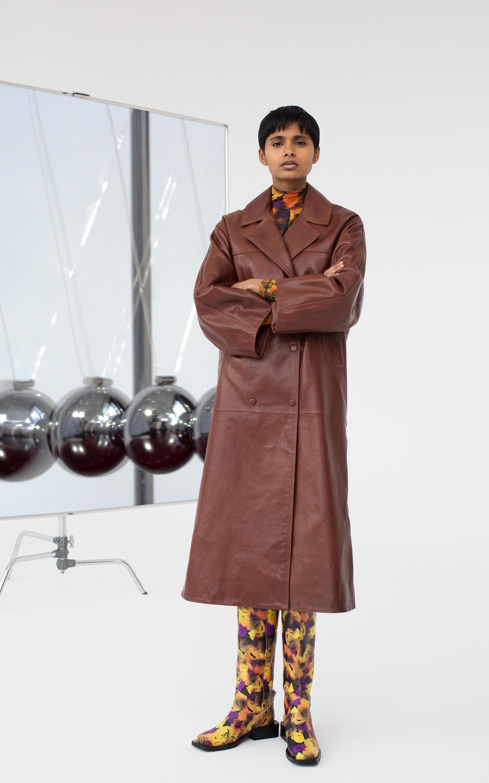 Ganni Leather Trench Coat