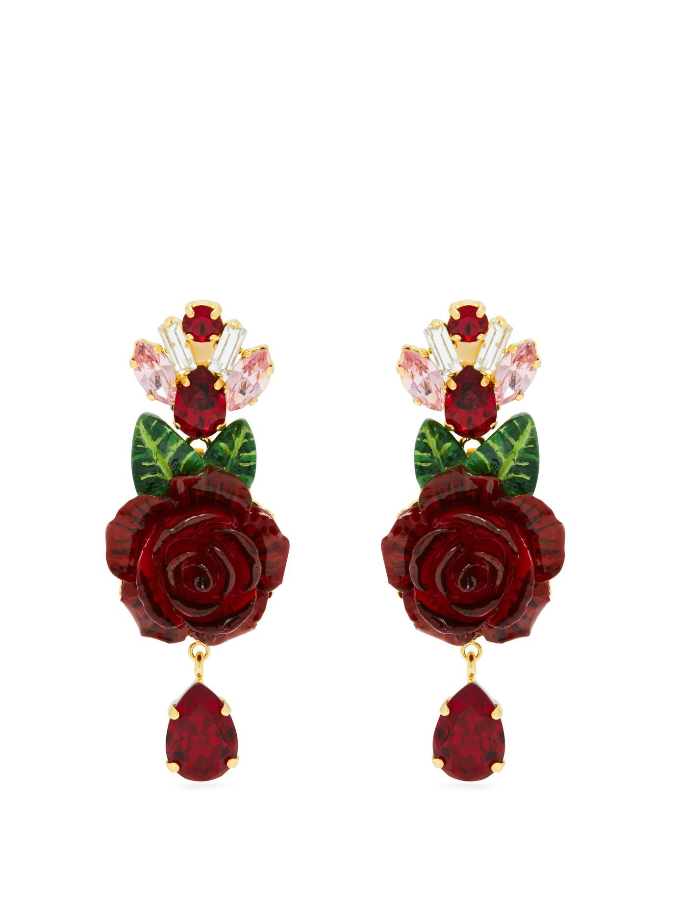 Rose and crystal-drop earrings | Dolce & Gabbana | MATCHESFASHION.COM UK